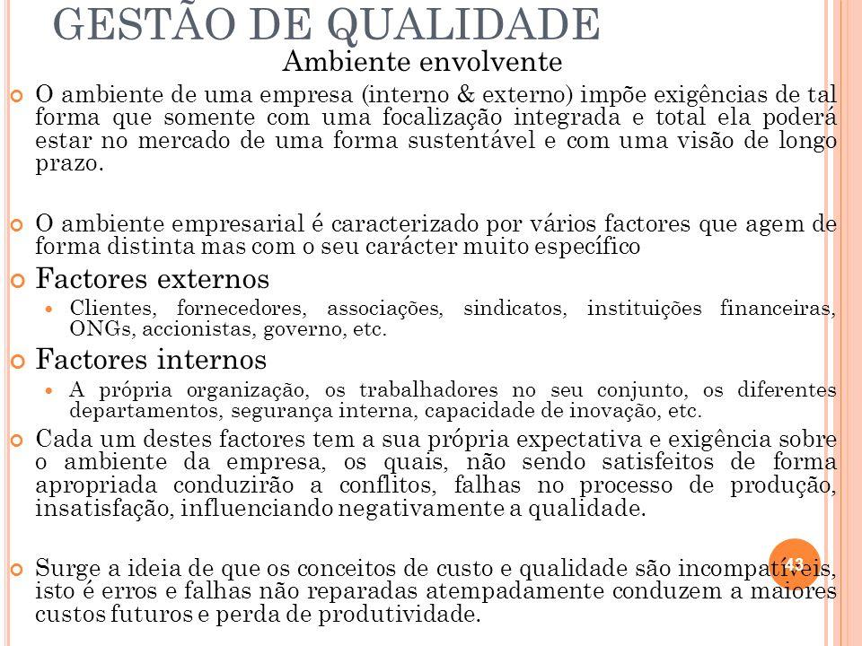 GESTÃO DE QUALIDADE Ambiente envolvente Factores externos