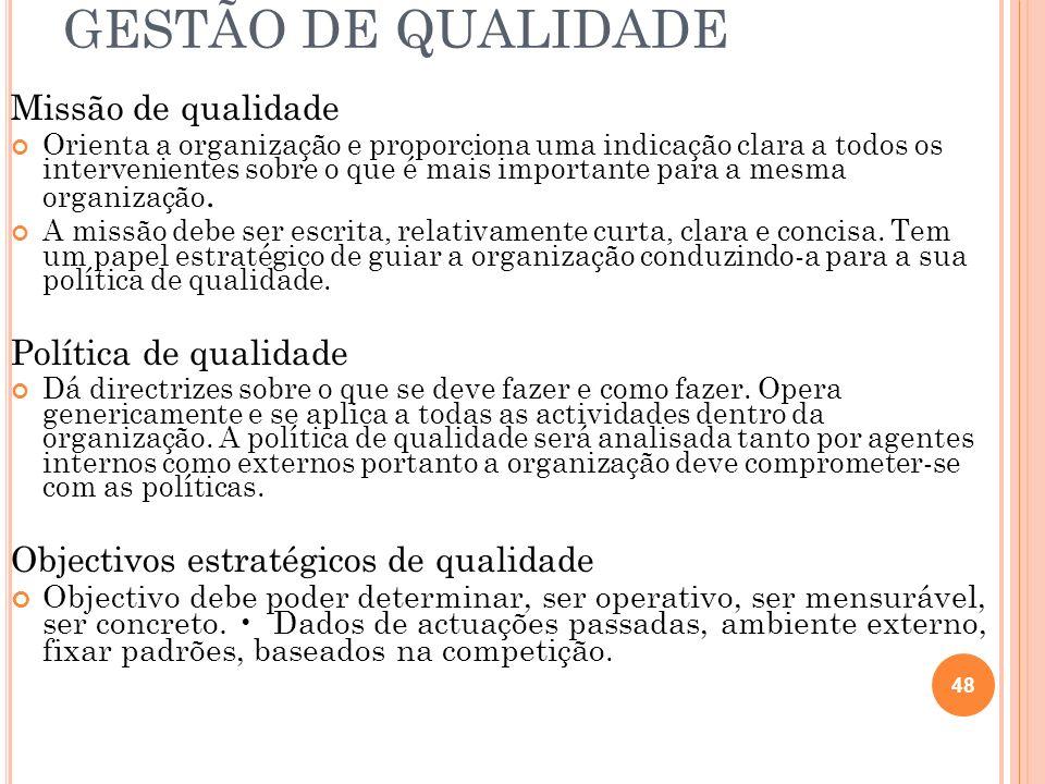 GESTÃO DE QUALIDADE Missão de qualidade Política de qualidade