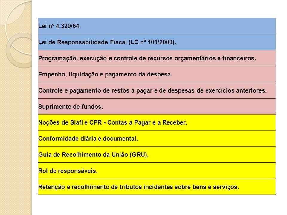 Lei nº 4.320/64. Lei de Responsabilidade Fiscal (LC nº 101/2000). Programação, execução e controle de recursos orçamentários e financeiros.