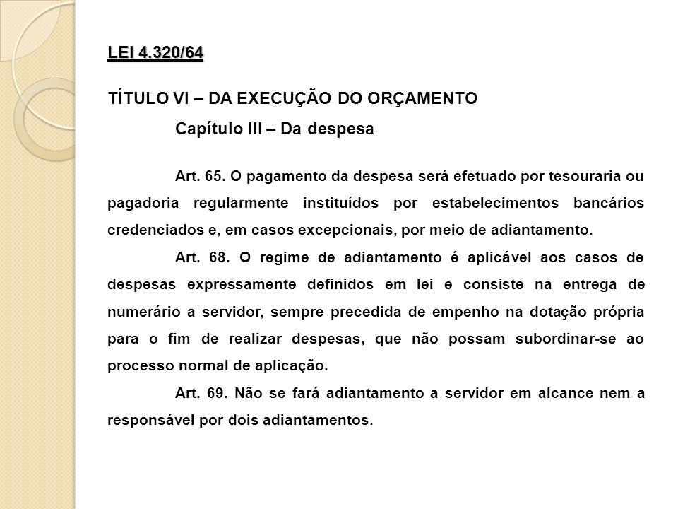 TÍTULO VI – DA EXECUÇÃO DO ORÇAMENTO Capítulo III – Da despesa