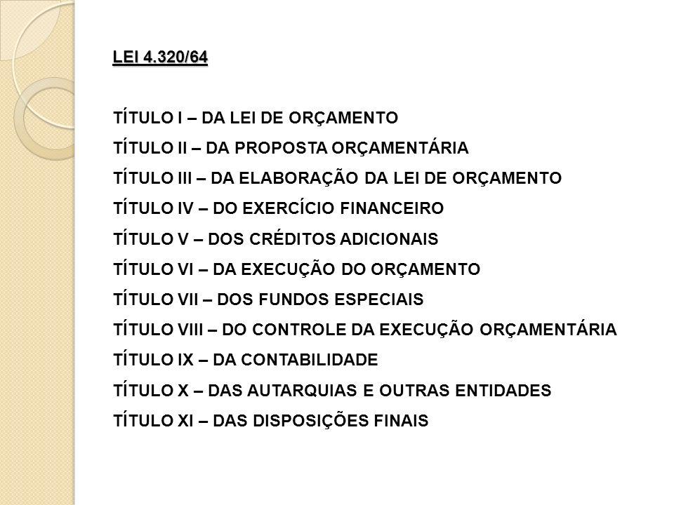 LEI 4.320/64 TÍTULO I – DA LEI DE ORÇAMENTO. TÍTULO II – DA PROPOSTA ORÇAMENTÁRIA. TÍTULO III – DA ELABORAÇÃO DA LEI DE ORÇAMENTO.