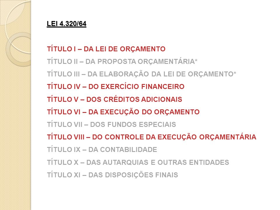 LEI 4.320/64 TÍTULO I – DA LEI DE ORÇAMENTO. TÍTULO II – DA PROPOSTA ORÇAMENTÁRIA* TÍTULO III – DA ELABORAÇÃO DA LEI DE ORÇAMENTO*