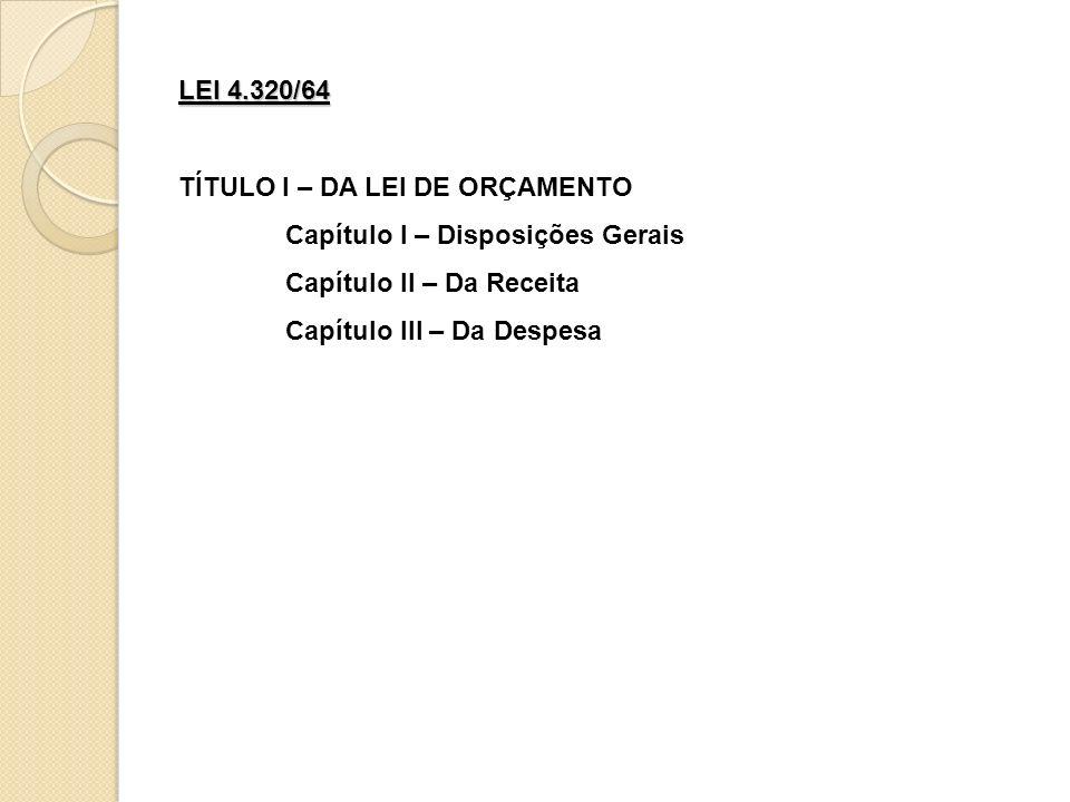 LEI 4.320/64 TÍTULO I – DA LEI DE ORÇAMENTO. Capítulo I – Disposições Gerais. Capítulo II – Da Receita.