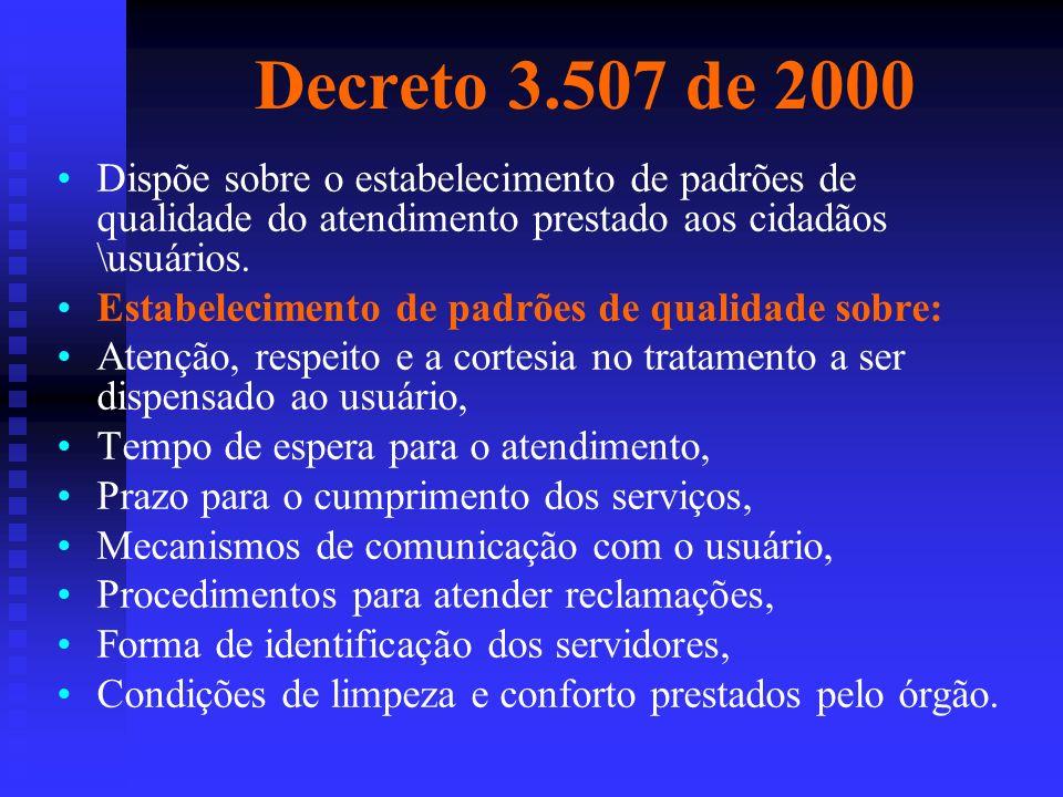 Decreto 3.507 de 2000 Dispõe sobre o estabelecimento de padrões de qualidade do atendimento prestado aos cidadãos \usuários.