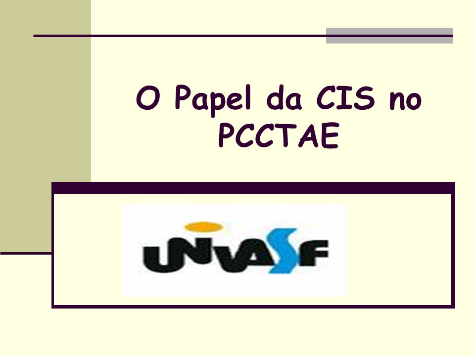 O Papel da CIS no PCCTAE