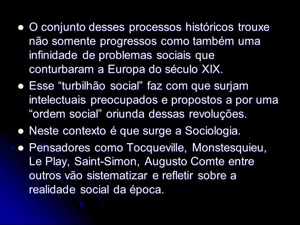 O conjunto desses processos históricos trouxe não somente progressos como também uma infinidade de problemas sociais que conturbaram a Europa do século XIX.