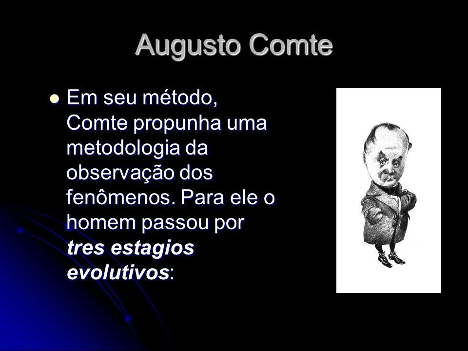 Augusto Comte Em seu método, Comte propunha uma metodologia da observação dos fenômenos.