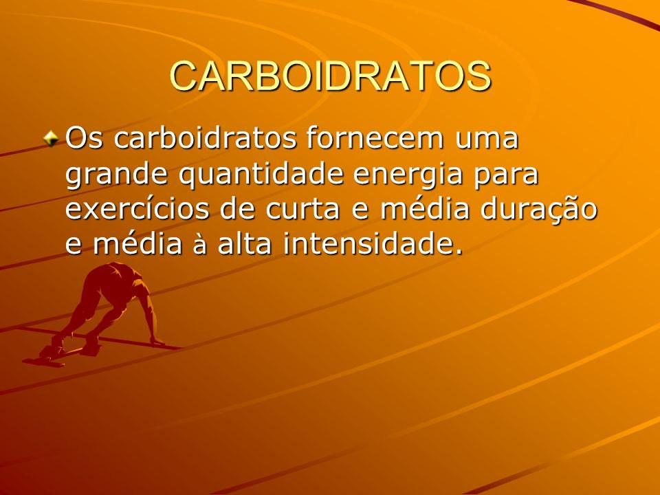 CARBOIDRATOS Os carboidratos fornecem uma grande quantidade energia para exercícios de curta e média duração e média à alta intensidade.