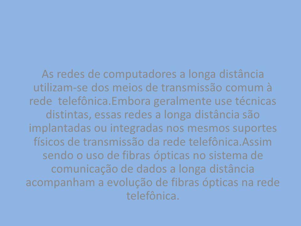 As redes de computadores a longa distância utilizam-se dos meios de transmissão comum à rede telefônica.Embora geralmente use técnicas distintas, essas redes a longa distância são implantadas ou integradas nos mesmos suportes físicos de transmissão da rede telefônica.Assim sendo o uso de fibras ópticas no sistema de comunicação de dados a longa distância acompanham a evolução de fibras ópticas na rede telefônica.