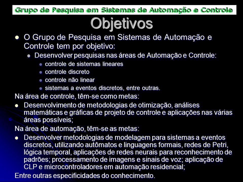 Objetivos O Grupo de Pesquisa em Sistemas de Automação e Controle tem por objetivo: Desenvolver pesquisas nas áreas de Automação e Controle: