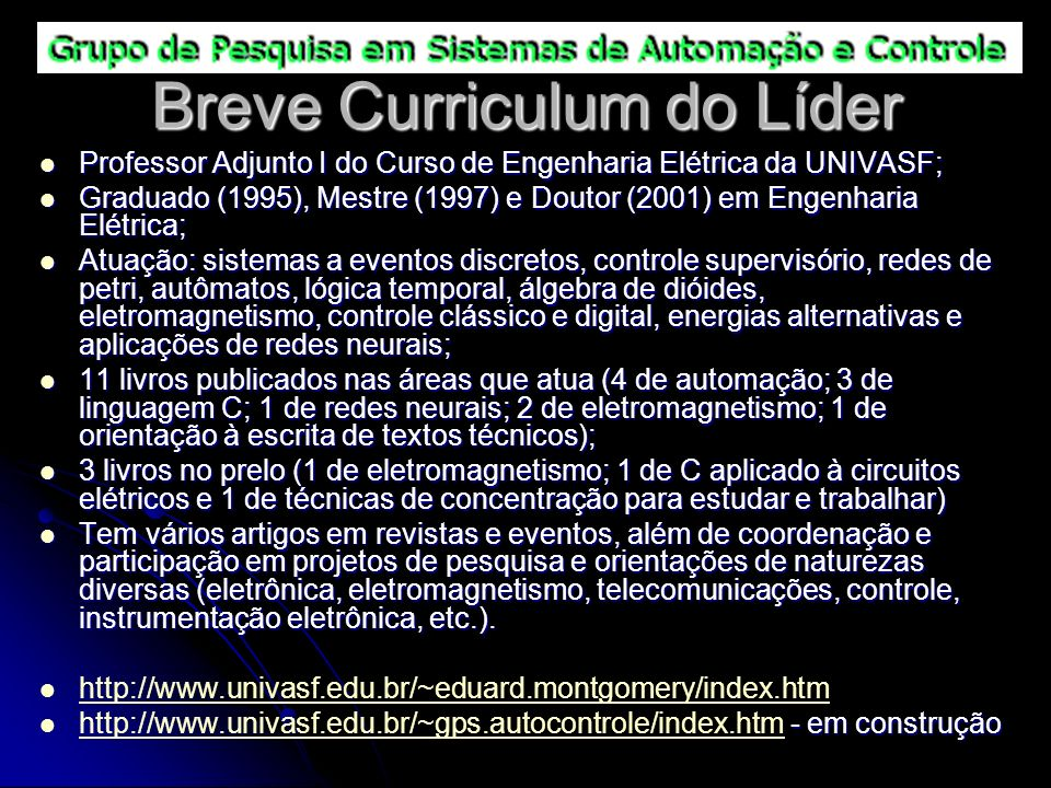 Breve Curriculum do Líder