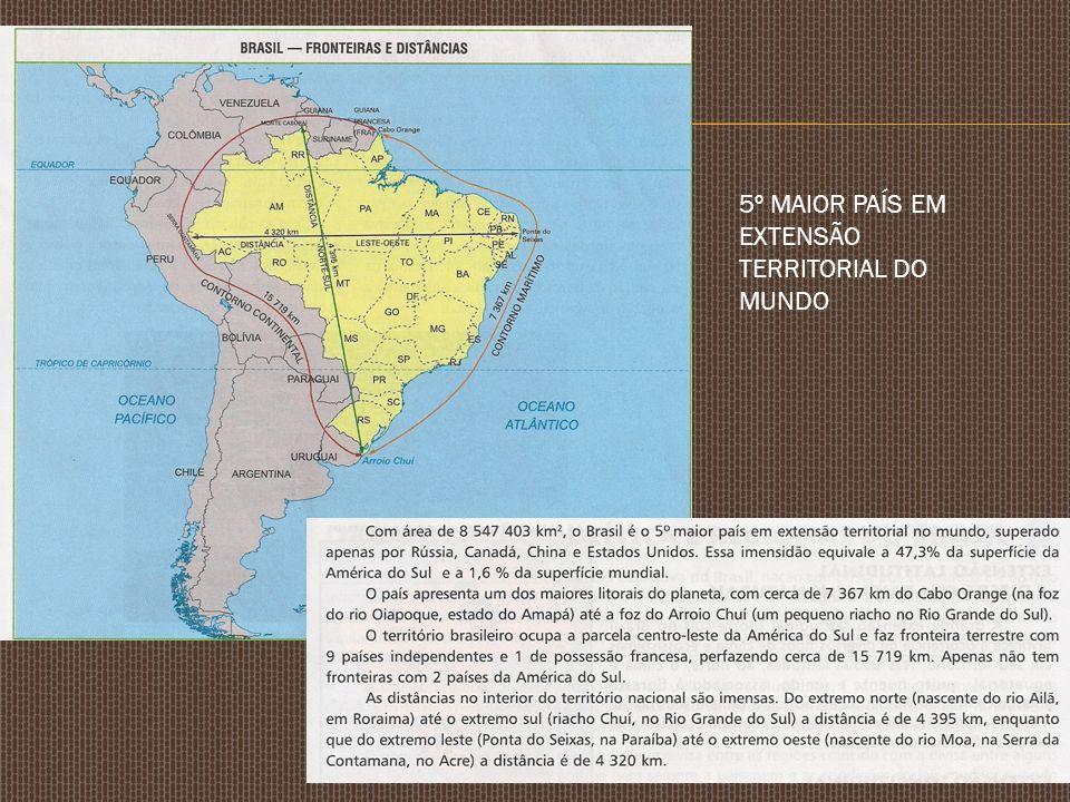 5º MAIOR PAÍS EM EXTENSÃO TERRITORIAL DO MUNDO