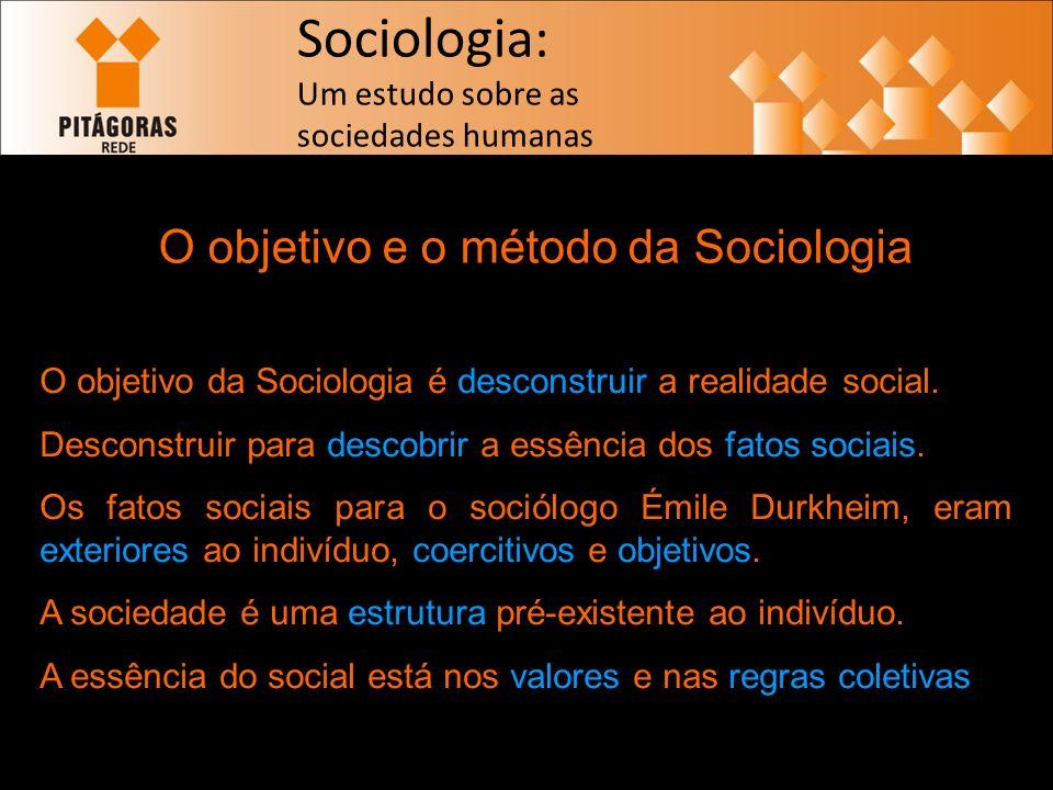 O objetivo e o método da Sociologia