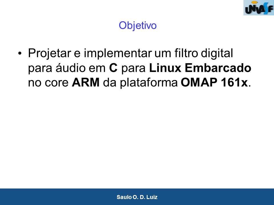 Objetivo Projetar e implementar um filtro digital para áudio em C para Linux Embarcado no core ARM da plataforma OMAP 161x.