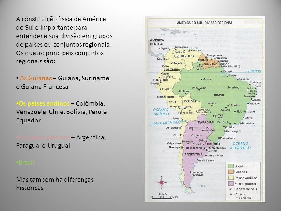 A constituição física da América do Sul é importante para entender a sua divisão em grupos de países ou conjuntos regionais. Os quatro principais conjuntos regionais são: