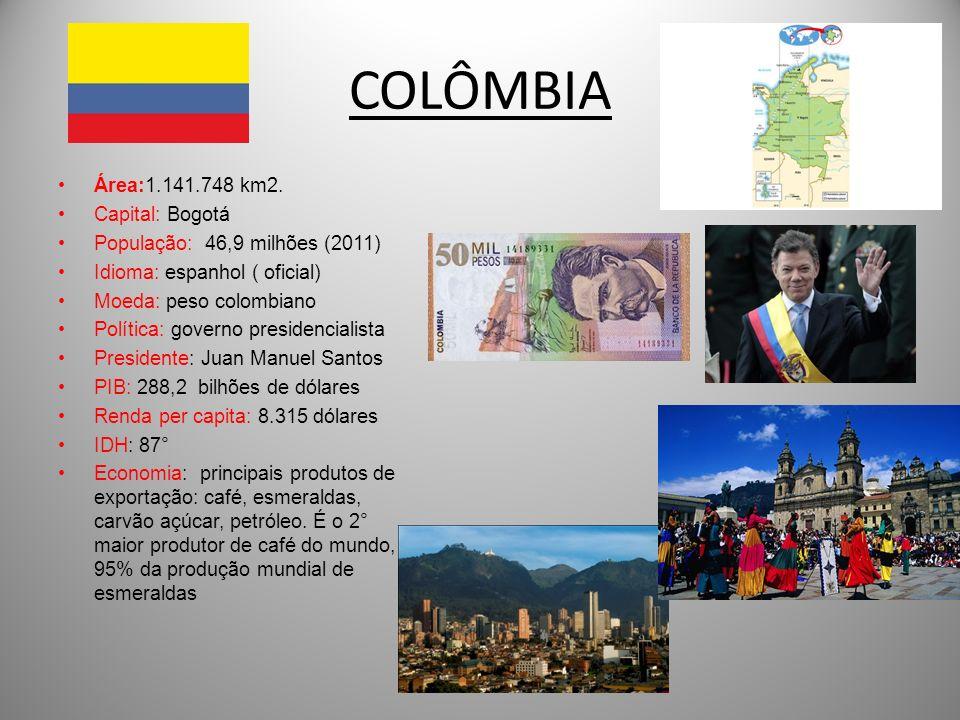 COLÔMBIA Área:1.141.748 km2. Capital: Bogotá
