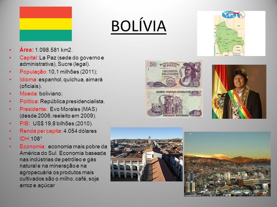 BOLÍVIAÁrea: 1.098.581 km2. Capital: La Paz (sede do governo e administrativa), Sucre (legal). População: 10,1 milhões (2011);