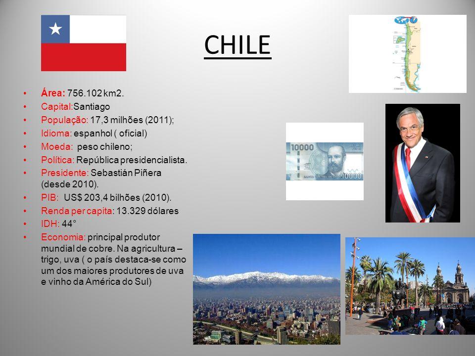 CHILE Área: 756.102 km2. Capital:Santiago