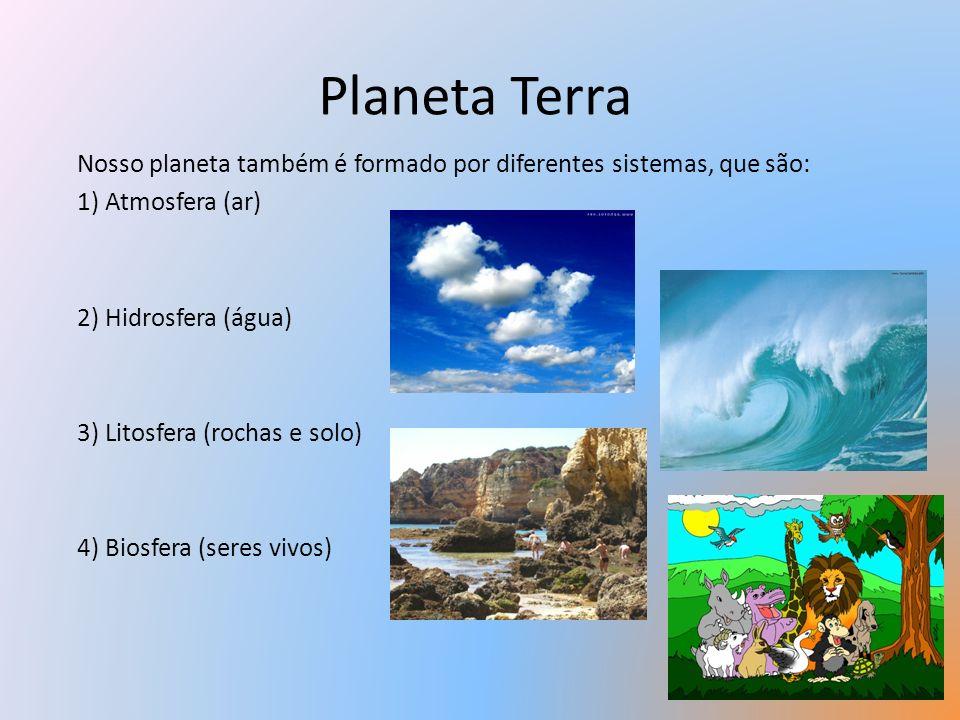 Planeta Terra Nosso planeta também é formado por diferentes sistemas, que são: 1) Atmosfera (ar) 2) Hidrosfera (água)