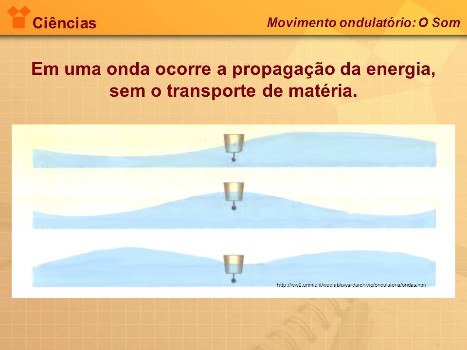 Em uma onda ocorre a propagação da energia,
