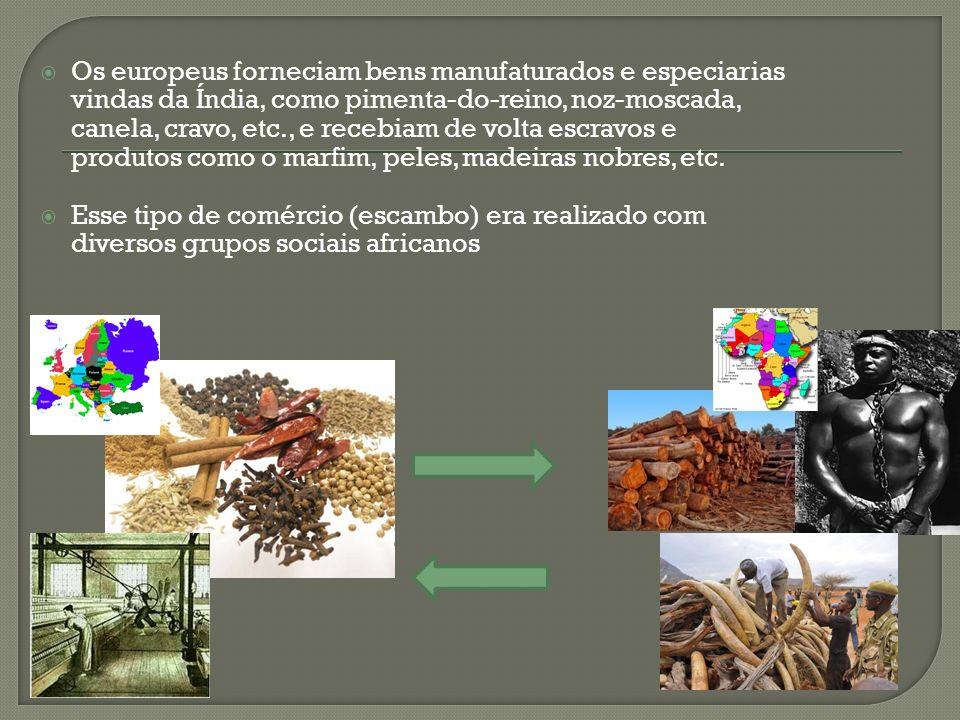 Os europeus forneciam bens manufaturados e especiarias vindas da Índia, como pimenta-do-reino, noz-moscada, canela, cravo, etc., e recebiam de volta escravos e produtos como o marfim, peles, madeiras nobres, etc.