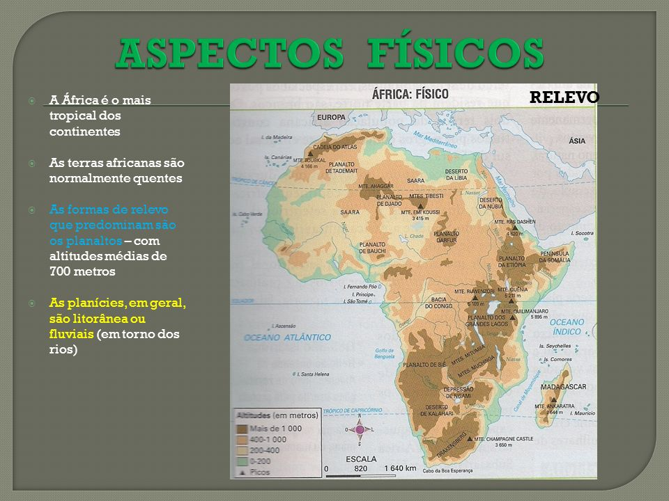 ASPECTOS FÍSICOS RELEVO A África é o mais tropical dos continentes