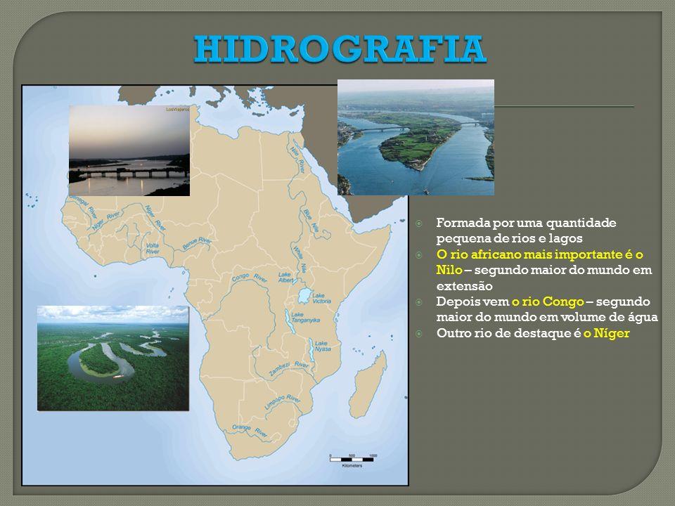HIDROGRAFIA Formada por uma quantidade pequena de rios e lagos