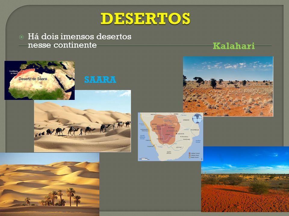 DESERTOS Há dois imensos desertos nesse continente Kalahari SAARA