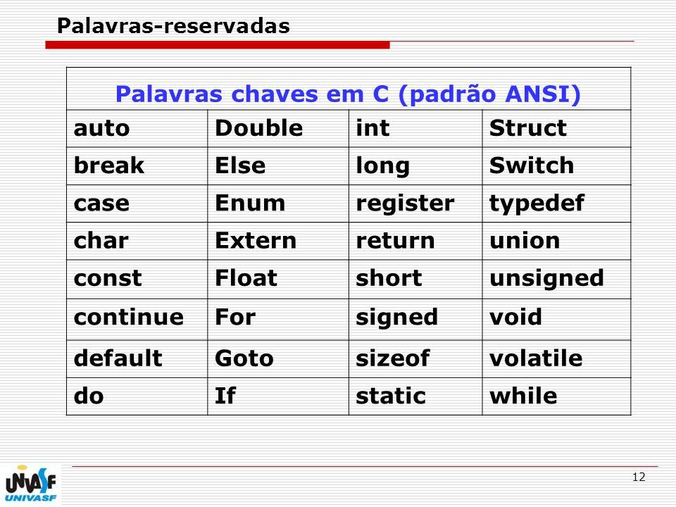 Palavras chaves em C (padrão ANSI)