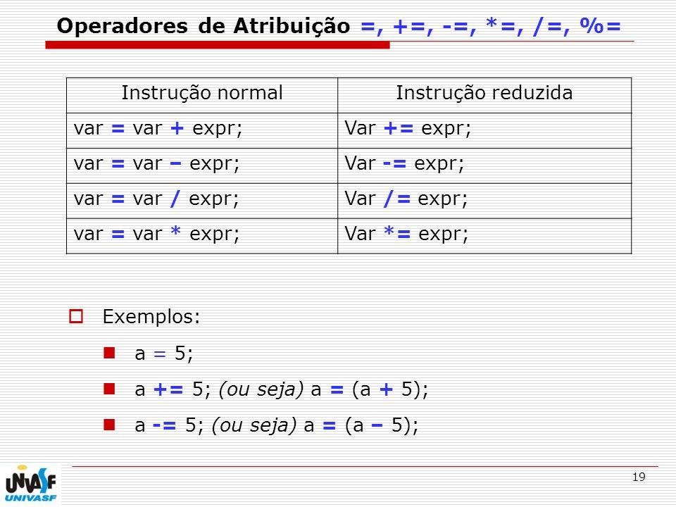 Operadores de Atribuição =, +=, -=, *=, /=, %=