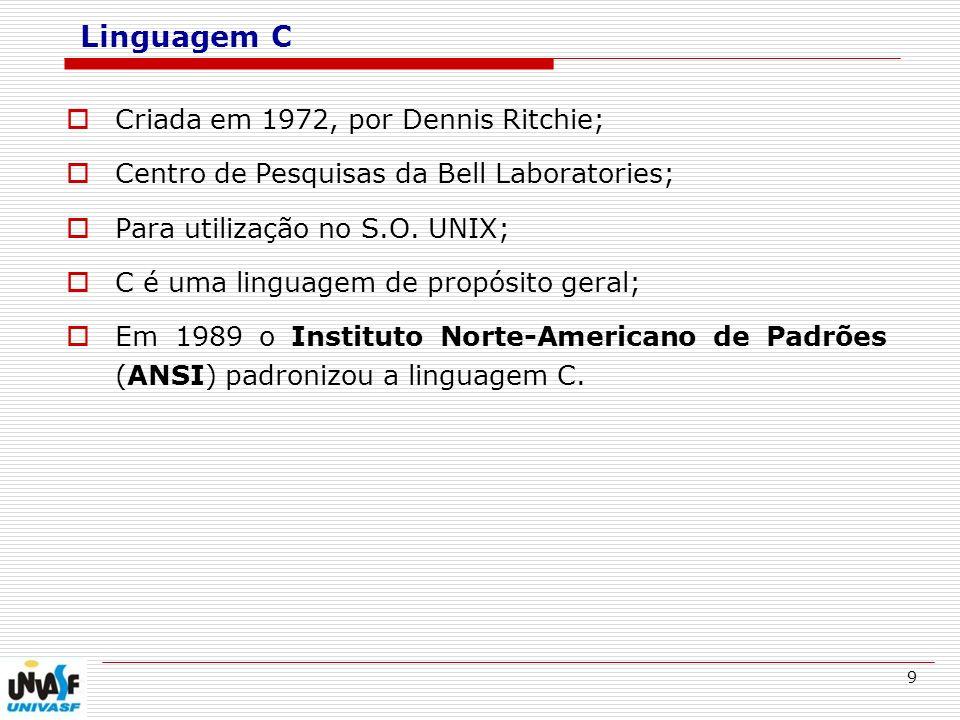 Linguagem C Criada em 1972, por Dennis Ritchie;