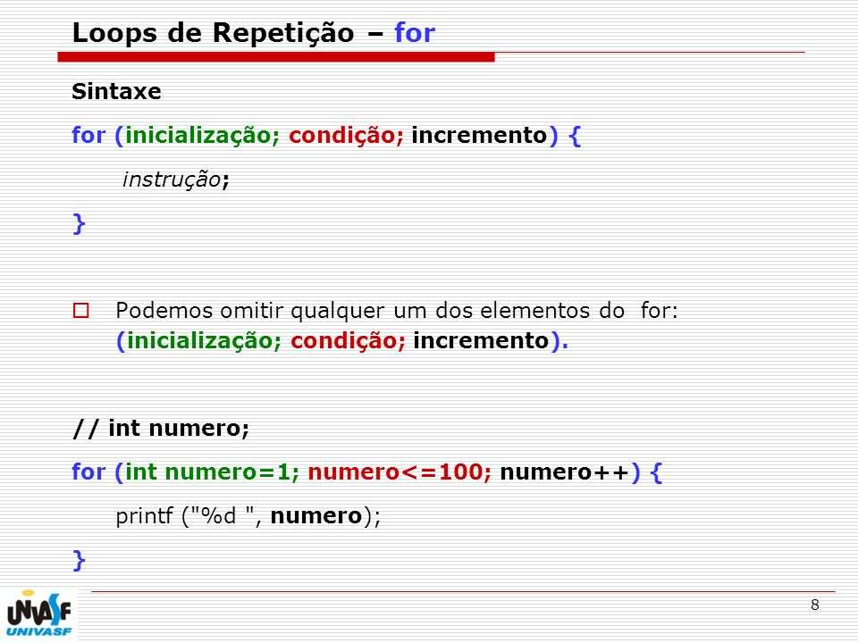 Loops de Repetição – for