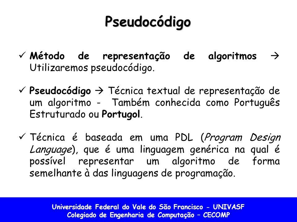 Pseudocódigo Método de representação de algoritmos  Utilizaremos pseudocódigo.