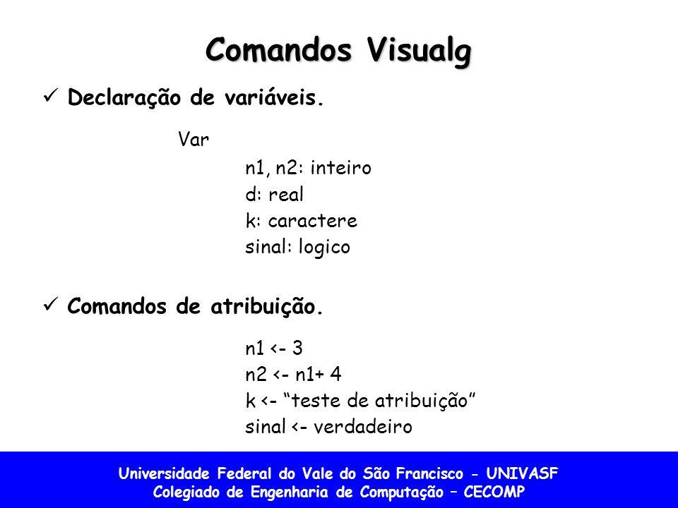 Comandos Visualg Declaração de variáveis. Var n1, n2: inteiro