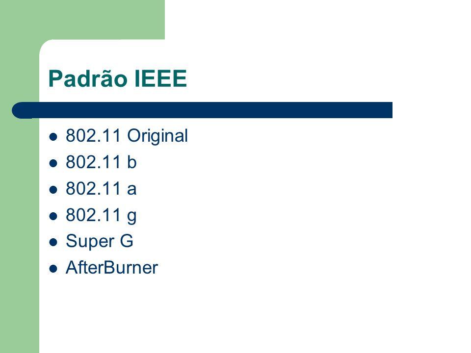 Padrão IEEE 802.11 Original 802.11 b 802.11 a 802.11 g Super G