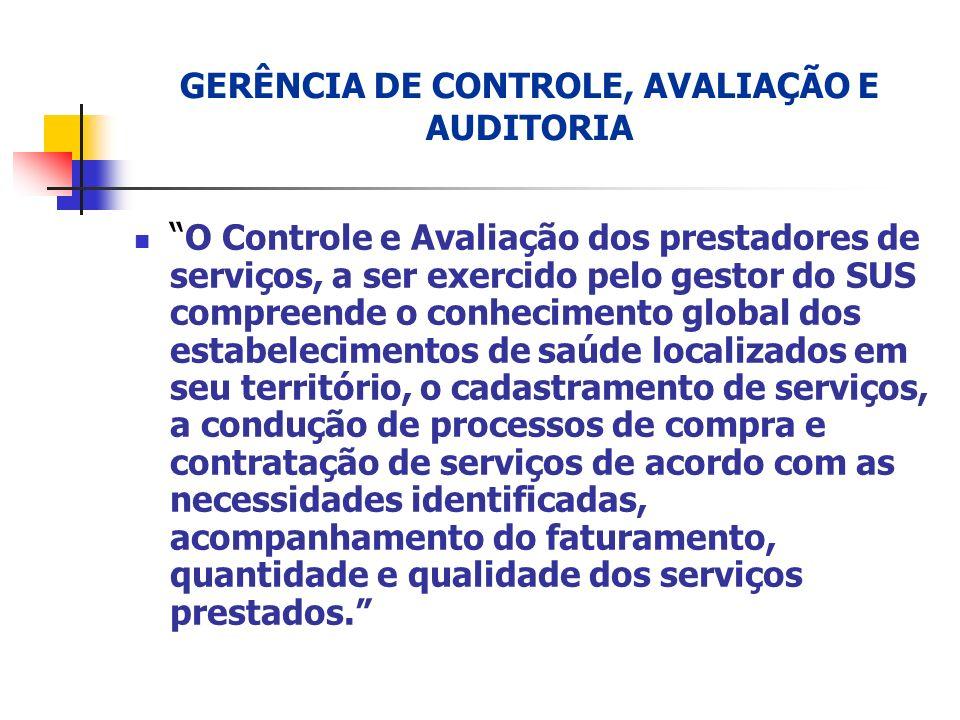 GERÊNCIA DE CONTROLE, AVALIAÇÃO E AUDITORIA