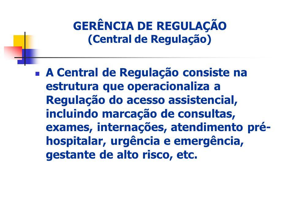 GERÊNCIA DE REGULAÇÃO (Central de Regulação)