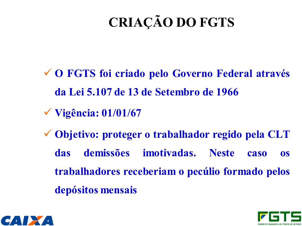 CRIAÇÃO DO FGTS O FGTS foi criado pelo Governo Federal através da Lei 5.107 de 13 de Setembro de 1966.