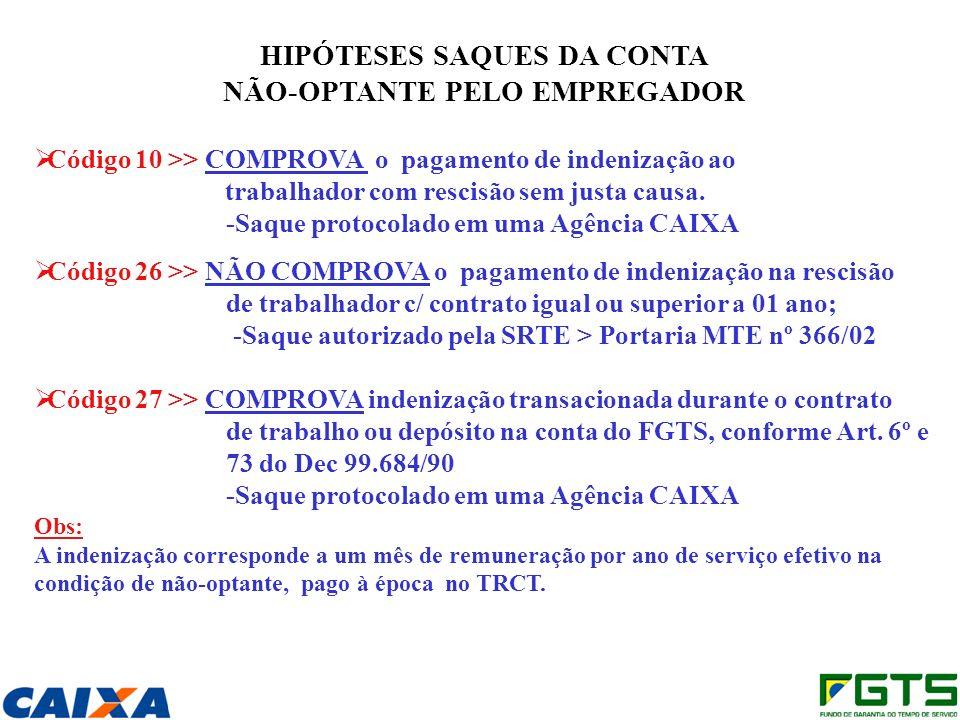 HIPÓTESES SAQUES DA CONTA NÃO-OPTANTE PELO EMPREGADOR