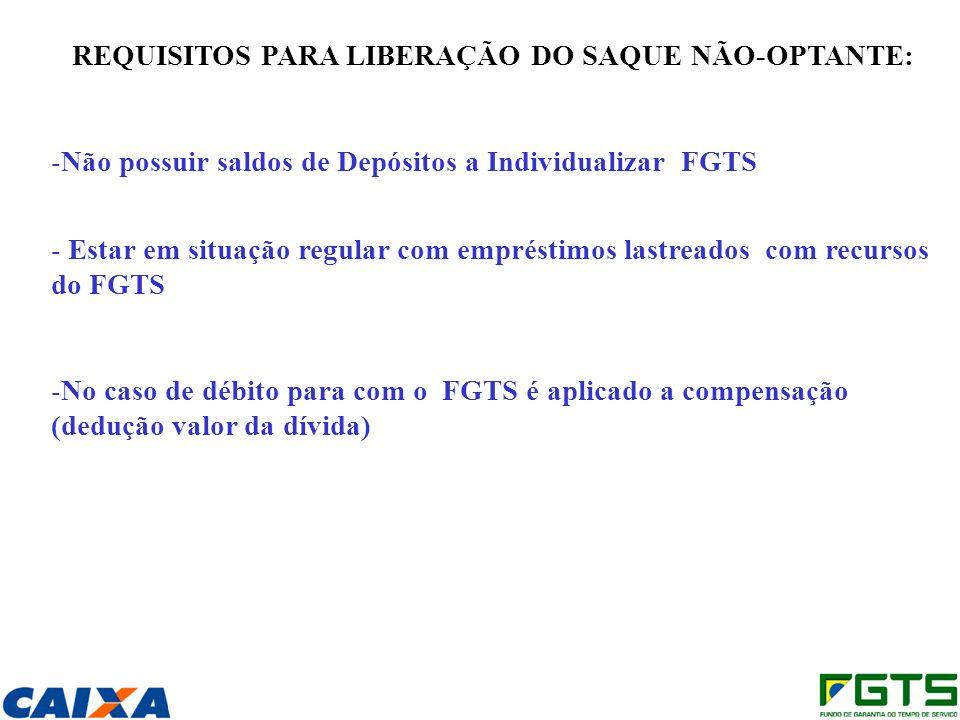 REQUISITOS PARA LIBERAÇÃO DO SAQUE NÃO-OPTANTE: