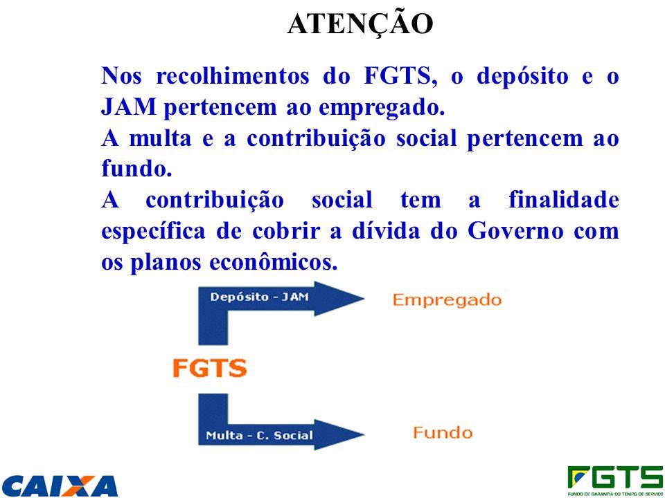 ATENÇÃO Nos recolhimentos do FGTS, o depósito e o JAM pertencem ao empregado. A multa e a contribuição social pertencem ao fundo.