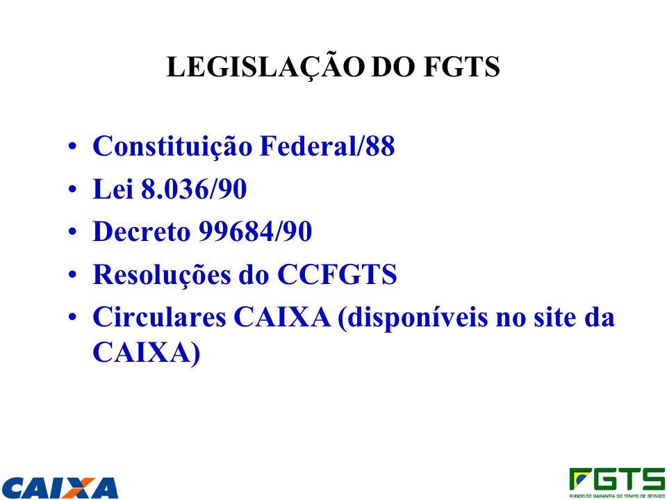 Constituição Federal/88 Lei 8.036/90 Decreto 99684/90
