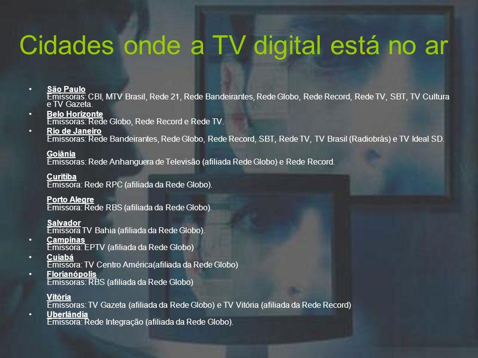 Cidades onde a TV digital está no ar
