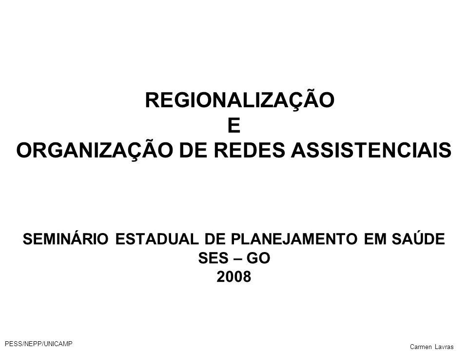 REGIONALIZAÇÃO E ORGANIZAÇÃO DE REDES ASSISTENCIAIS