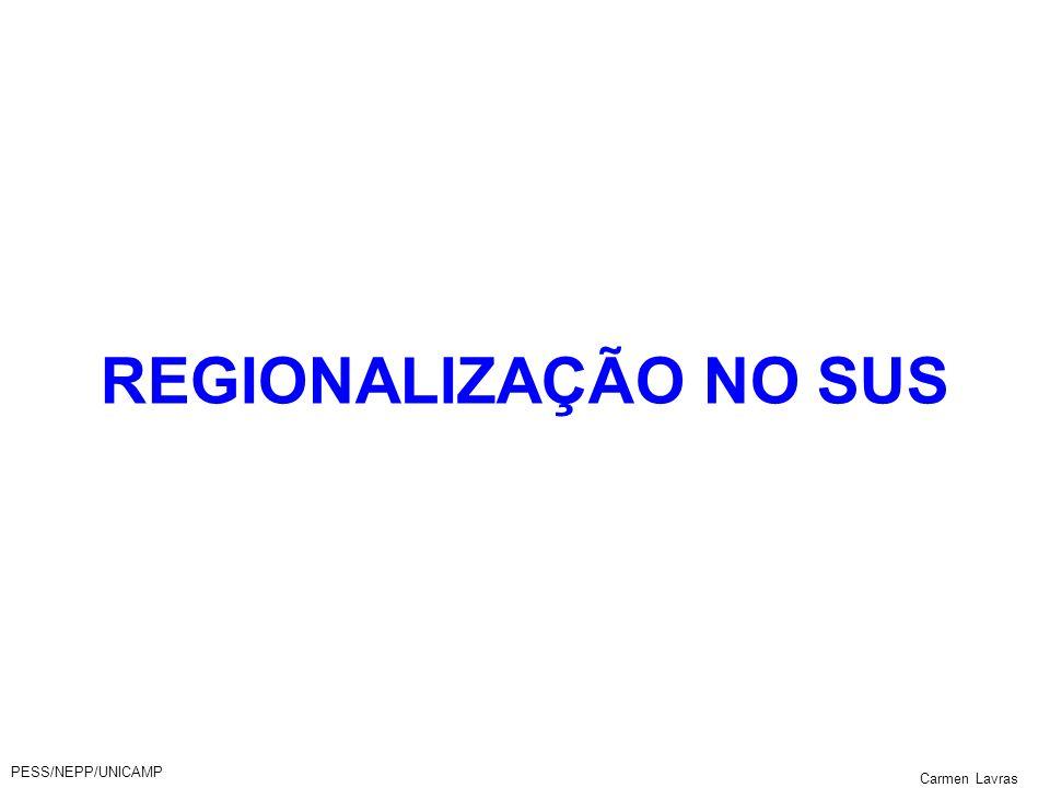 REGIONALIZAÇÃO NO SUS PESS/NEPP/UNICAMP Carmen Lavras