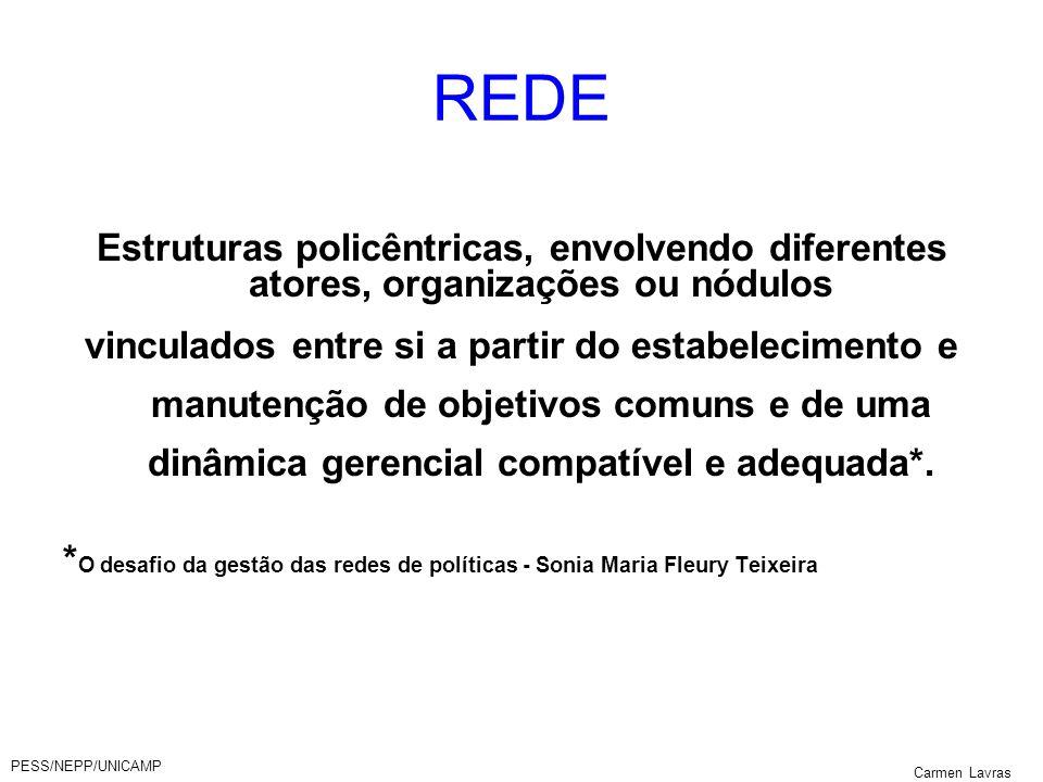 REDE Estruturas policêntricas, envolvendo diferentes atores, organizações ou nódulos.