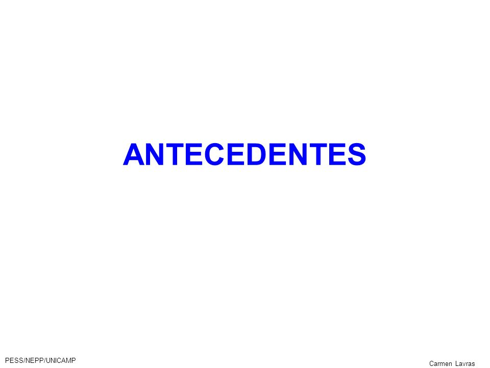 ANTECEDENTES PESS/NEPP/UNICAMP Carmen Lavras