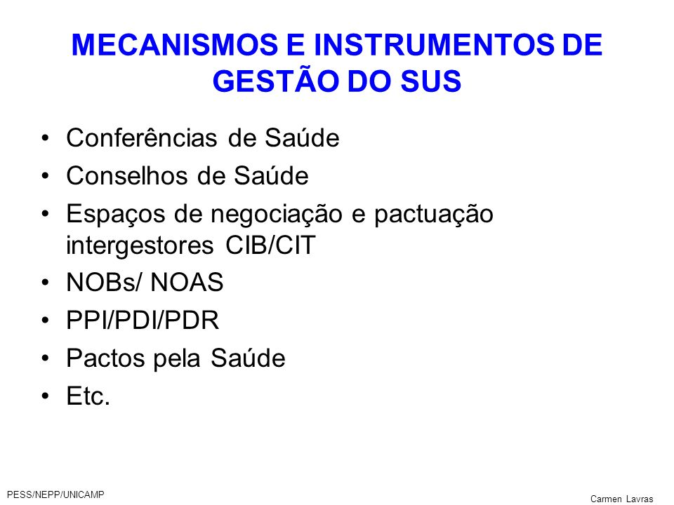 MECANISMOS E INSTRUMENTOS DE GESTÃO DO SUS