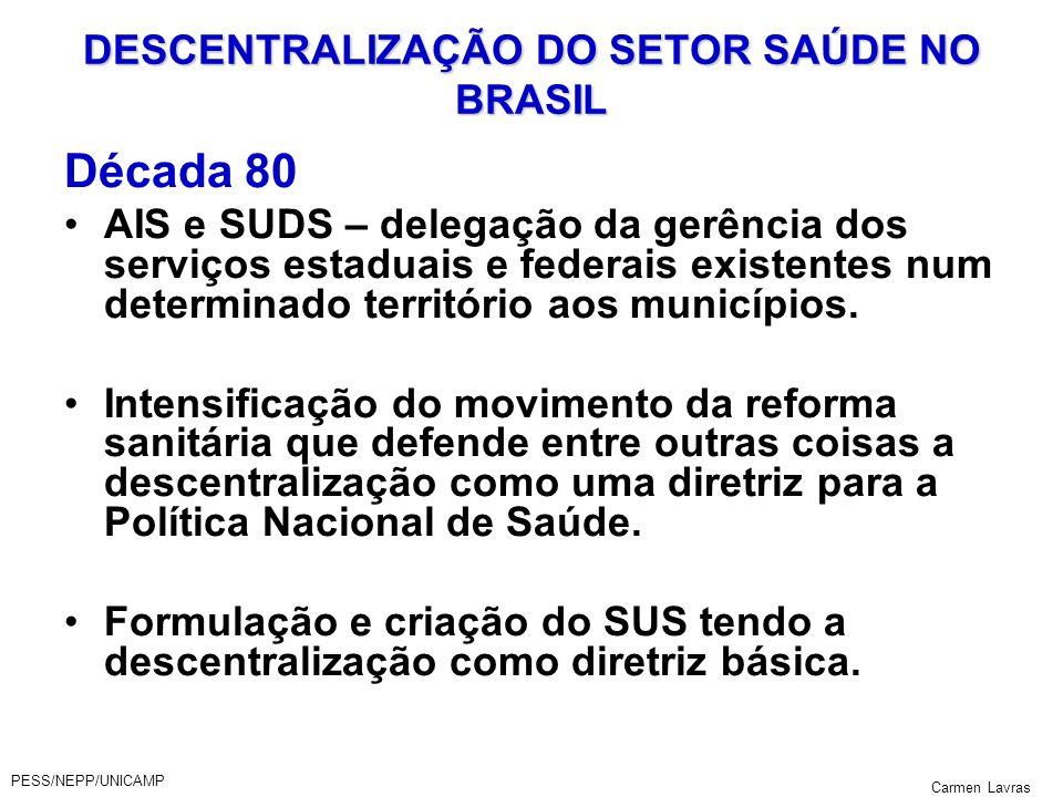DESCENTRALIZAÇÃO DO SETOR SAÚDE NO BRASIL
