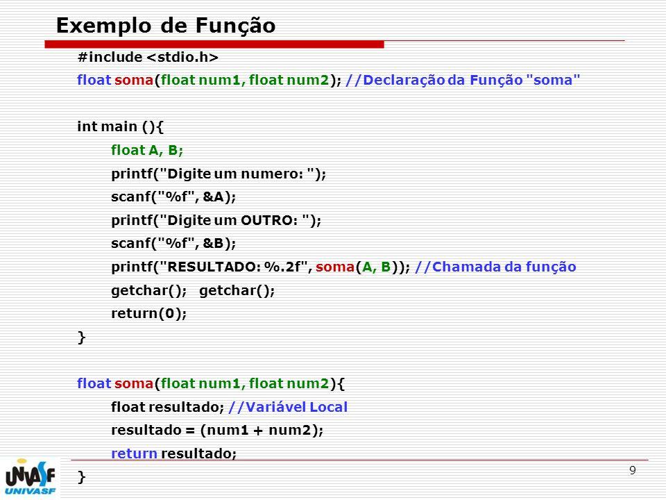 Exemplo de Função #include <stdio.h>